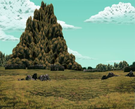 digital painting of a mound of trees in a landscape of stone ruins Banco de Imagens