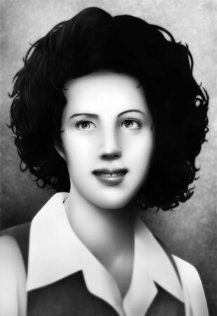 黒と白で穏やかなハーフトーン影響がヴィンテージ 1940 年代ファッションで短い毛を持つ若い女性の肖像画を描いた 写真素材