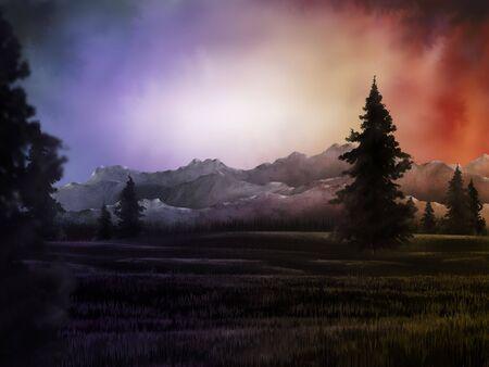 ルミナス山脈より超現実的な空の絵画