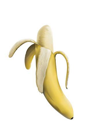白い背景に分離された熟した剥離バナナのデジタル絵画 写真素材