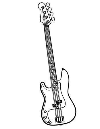 単純な電気ベースギター ライン アート イラスト