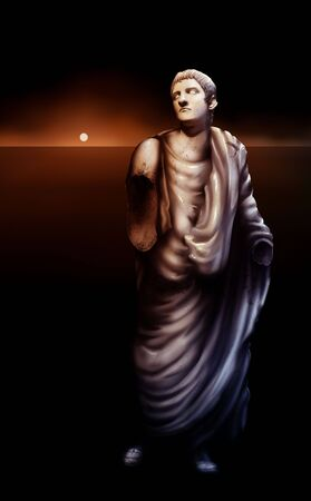 surreal artwork depicting a broken statue of Roman Emperor Caligula