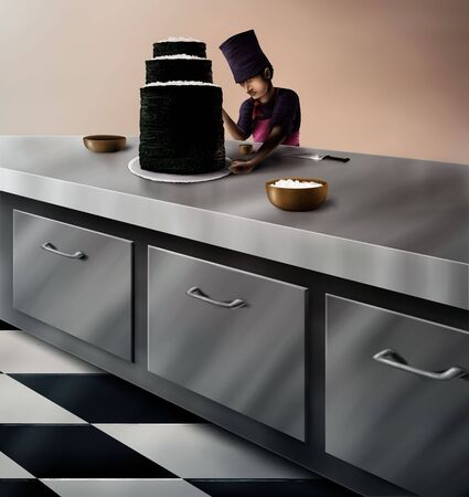 upscale: a digital painting of a Japanese sushi chef in the kitchen of an upscale restaurant creating a giant sushi cake