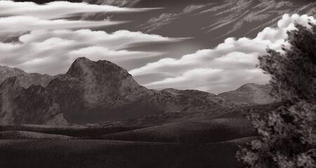 雲と様式化された穏やかな風景のヴィンテージの山