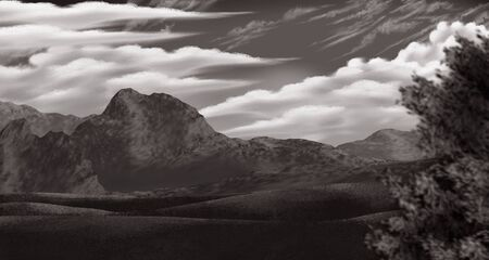 clouds and mountains in a vintage stylized serene landscape Banco de Imagens