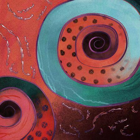 現代抽象芸術点とらせん状の絵画 写真素材