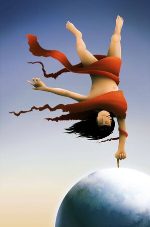 a surreal painting of a long haired man wrapped in red fabric balancing on the Earth tethered by his index finger