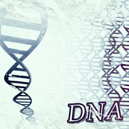 a grungy artistic illustration of a DNA double helix Stock Photo