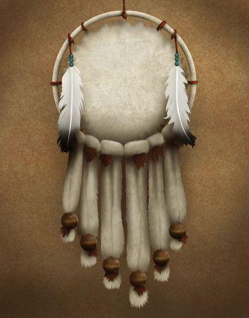 毛皮および羽で飾られた伝統的なネイティブ アメリカン ドリーム キャッチャーの絵画