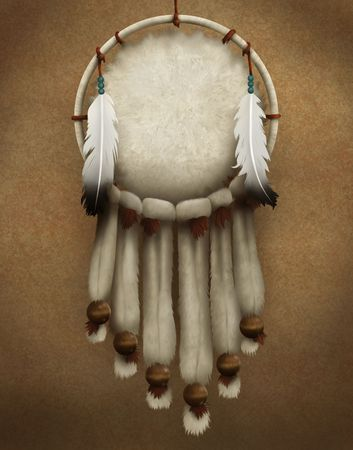 native american art: painting of a traditional Native American dreamcatcher decorated with fur and feathers