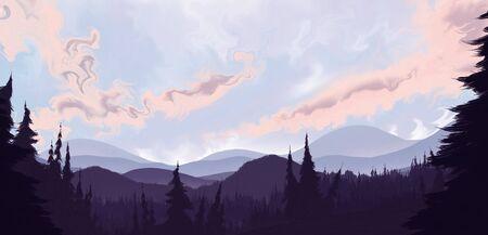 豪華な曇り空の下遠くなだらかな丘につながる松の森のシュールな風景画 写真素材