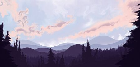 a surreal landscape painting of a forest of pines leading to distant rolling hills below a gorgeous cloudy sky