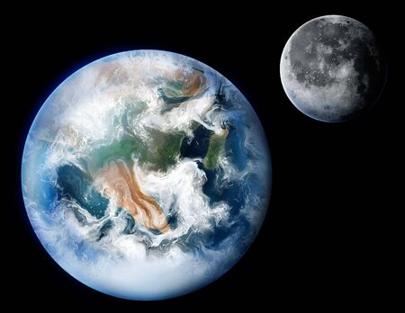 A detailed digital painting of the planet Earth and its moon.