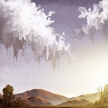 digital painting of a landscape with melting clouds over a warm desert Banco de Imagens