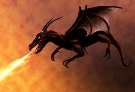 dragones: pintura de un vuelo drag�n rojo fuego de respiraci�n