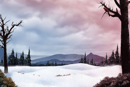 冷たい丘太陽の下で地球温暖化と雪のフィールドを見下ろす枢機卿の絵