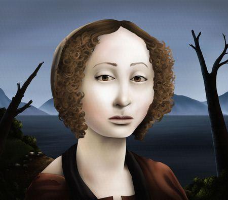 絵画、肖像画のデジタル アートのルネッサンスの女性