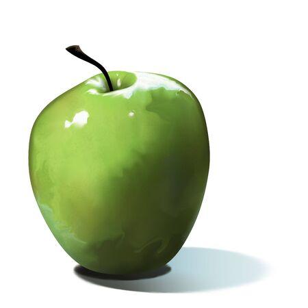 白い背景上に分離されてジューシーなグリーンアップルのデジタル絵画