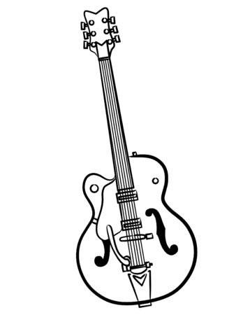a simple Electric Guitar line art illustration Banco de Imagens