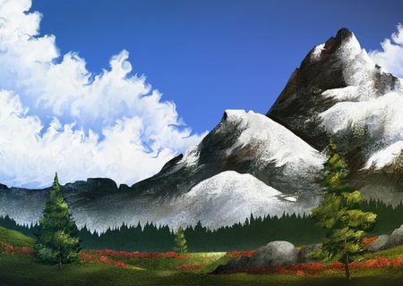 デジタル アートの風景画の赤い花のフィールドの後ろに雪に覆われた山 写真素材