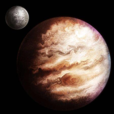惑星は木星の野生の旋回表面の空間絵画
