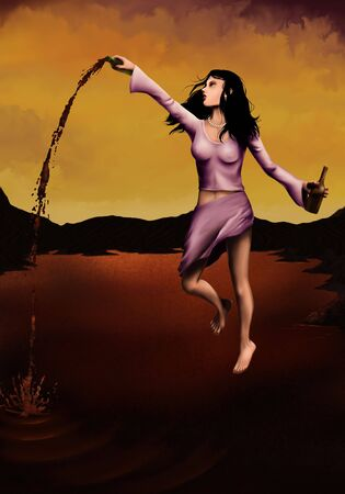 a digital painting of a floating woman pouring a bottle of wine into a vast red lake Banco de Imagens