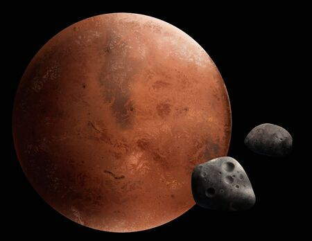a digital painting of the red planet Mars and 2 of its moons, Phobos and Deimos.