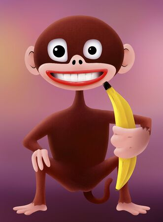 a smiling cartoon monkey character holding a banana photo