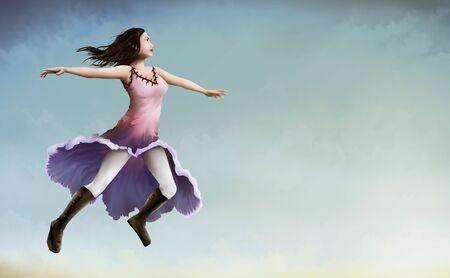 空の淡いブルーの上を飛んで朝顔の花のドレスの暗い髪の女性の絵画