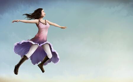 a painting of a dark haired Woman in a morning glory flower dress flying over a pale blue sky Banco de Imagens