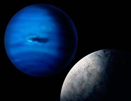 a digital painting of the planet Neptune and one of its larger moons, Triton.