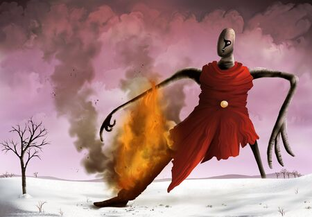 a surreal painting of a strange figure bounding across a snowy landscape with a wooden leg on fire