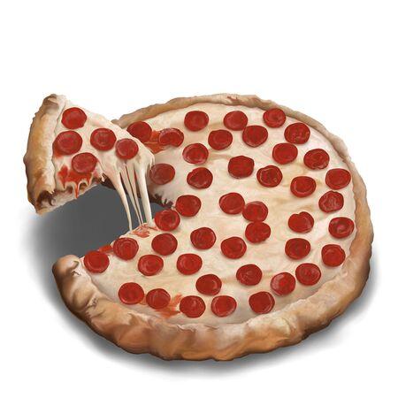 ペパロニとチーズのピザ、白い背景で隔離のデジタル絵画