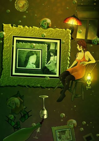woman floating: a surreal illustration of a Woman floating in alcohol surrounded by antique decor and bubbles Stock Photo