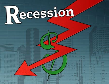 descending: a descending red recession arrow destroying a dollar sign in front of a city and grid backdrop