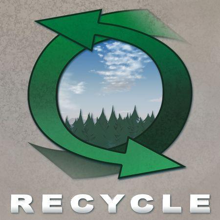 松の森と曇り空の芸術的なリサイクル グラフィック 写真素材