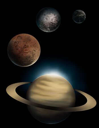 a digital painting of the ringed planet Saturn and 3 of its many moons, Rhea, Iapetus, and Dione.
