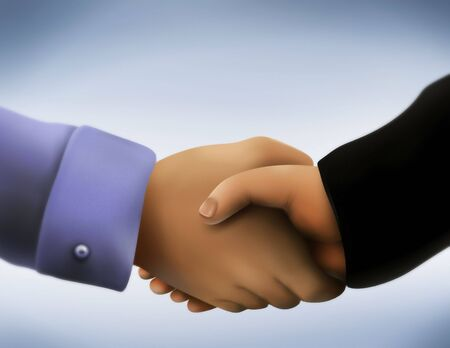 engaging: a close up illustration of two men in business attire engaging in a handshake