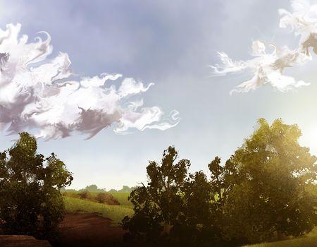 緑の木々 と青い曇天の風景のデジタル絵画 写真素材