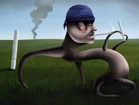 草の緑分野でタバコを吸って、抽象的な図の超現実的な絵画