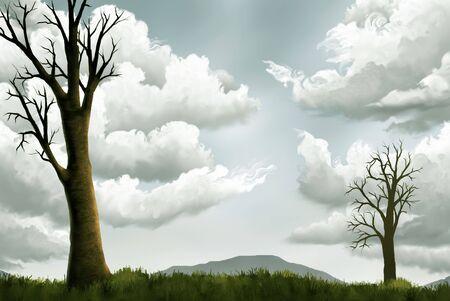 ソフトの丘と枯死木明るい曇りの空の風景画 写真素材