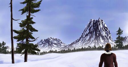 冷たい雪に覆われた荒野で山を探索ハイカーの絵画