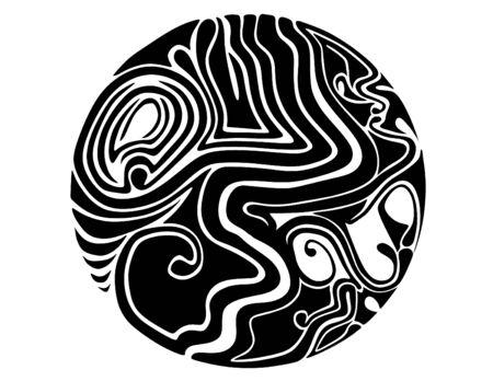 黒と白の抽象的な球面抽象的デザインのシンボル 写真素材