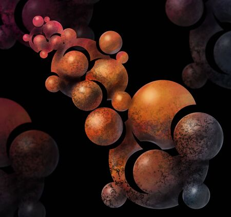 painted abstract organic clusters of orange spheres Banco de Imagens