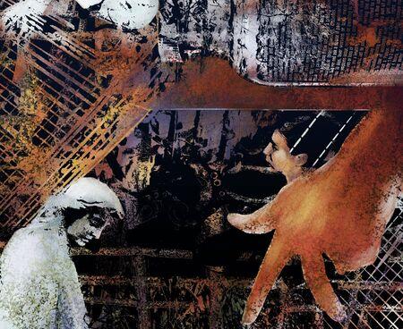 重なり合った写真パターンとテクスチャと汚れたコラージュ 写真素材