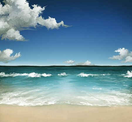 a landscape painting of a warm ocean in the Summer with a cloudy sky over waves on a sandy beach Banco de Imagens