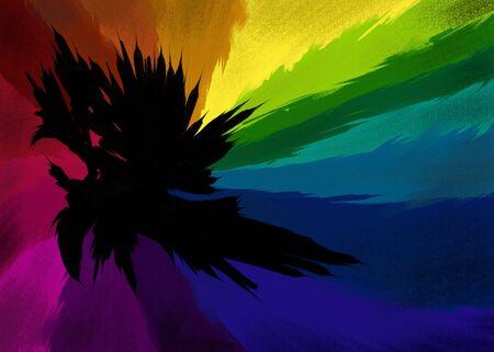 色のスペクトルの鮮やかな色合いに囲まれたギザギザ穴の背景 illustratrion