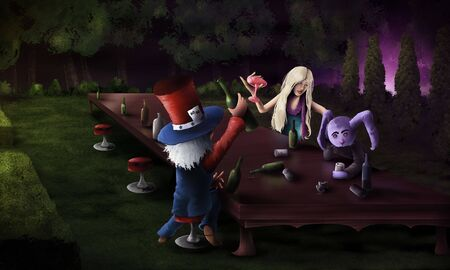 alice: digital artwork of an alice in wonderland stylized tea party with wine and alcohol Stock Photo