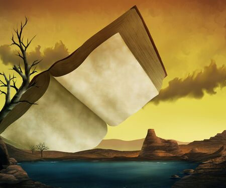 a surrealist painting of an ancient textbook in a yellow sky over a red desert and a cool lake Banco de Imagens