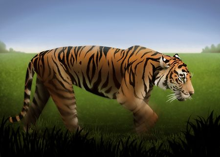 a painting of an orange tiger stalking through a field of green grass